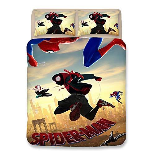 SL-YBB Spiderman Heroes Expedition Bedding Set Marvel Movie Kids Set 3 Piece Suit 1 Duvet Cover + 2 Pillowcases (Spiderman 17.135 x 200 cm)