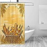 GABRI Frisches Brot Weizen Duschvorhang Set für Badezimmer aus wasserdichtem Stoff aus Polyester mit Haken 36x72 inch