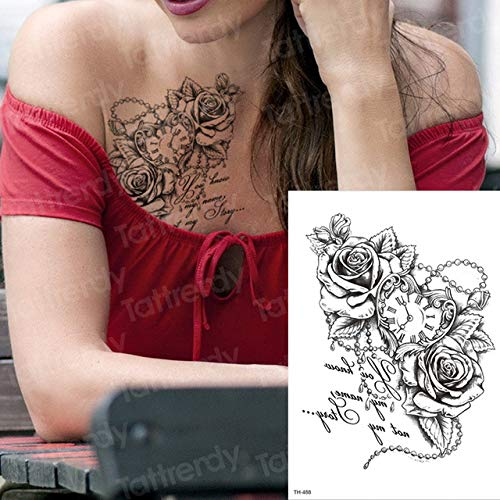 Handaxian Arte Transferencia 3pcsTattoo Agua de Rosas Etiqueta engomada del Tatuaje Negro del Cuerpo Femenino Muchacha del Tatuaje en el Pecho Cintura Pulsera
