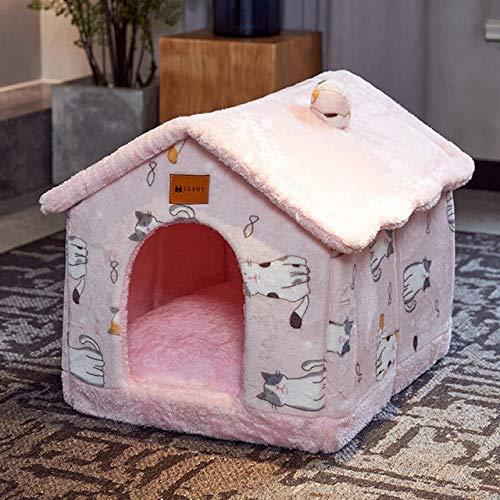 Colchoneta Plegable para casa de Perro, para Perros pequeños, medianos, Gatos, Invierno cálido, Chihuahua, Nido de Gato, Productos para Mascotas, Cesta, sofá, Cueva para Cachorros, Gato Rosa 1, M