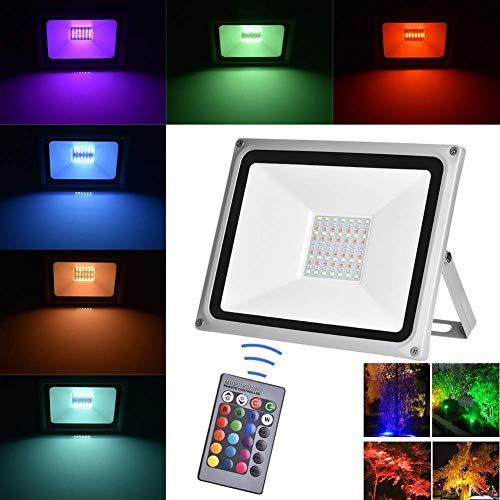 Viugreum Faretto LED Esterno RGB 50W 16 Colori e 4 Modalità Funzione Dimmerabile con Telecomando Proiettore LED Colorato IP65...