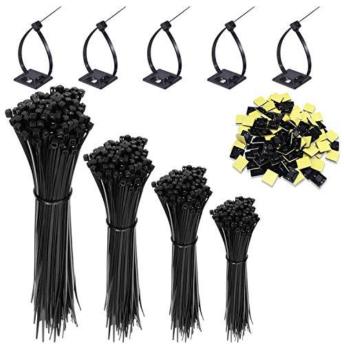 HISAYSY Kabelband, 400 st självlåsande svarta buntband i nylon, premium buntband/knytband i storlek 6,8,10,12 tum med 20 st självhäftande buntfästen (varje storlek 100 st)