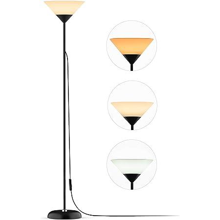 フロアライト フロアランプ 上向きライト アップライト 三色調光 フロアスタンド 寝室/リビング/オフィスなど適応 電球付きNilight (ブラック)