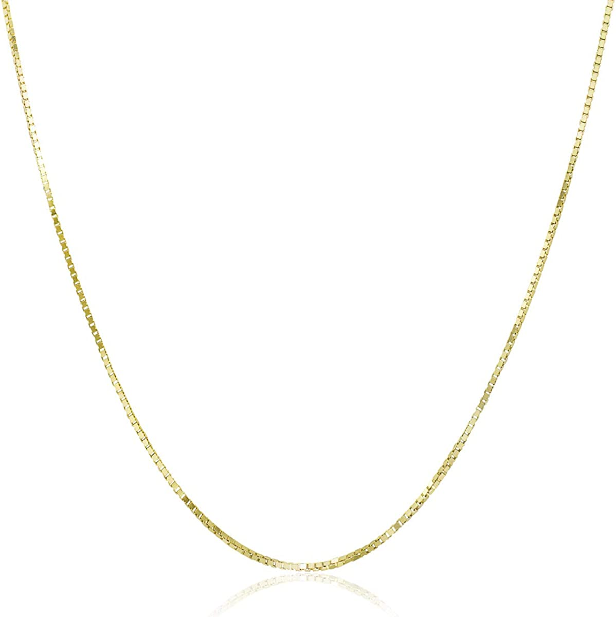 Honolulu Jewelry Company 10K Solid Gold 0.8mm Box Chain Necklace, 16