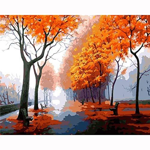 HLH Herbstblätter Malen Nach Zahlen Bunt 40x50 cm Malen Nach Zahlen Senioren für DIY Arts Craft(Ohne Rahmen)