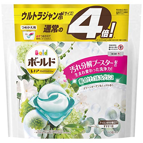 ボールド 洗濯洗剤 ジェルボール 洗濯水をデトックス グリーンガーデン&ミュゲ 詰め替え 60個(約4倍)