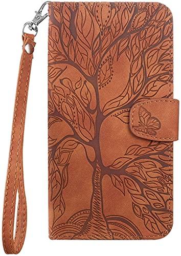 KELISI - Funda para Samsung Galaxy S8+/S8 Plus (6,2 pulgadas), diseño de árbol de la vida de piel sintética, con función atril, color marrón