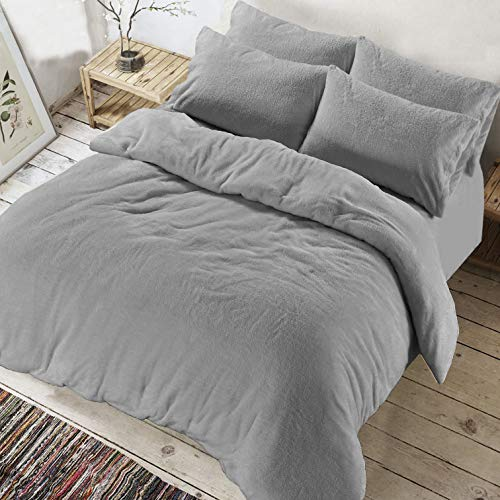 AR Textile Soft Teddy Bear Fleece Duvet cover with Pillowcases, Thermal Warm Fleece Bedding Set in single double king superking (Grey, King)