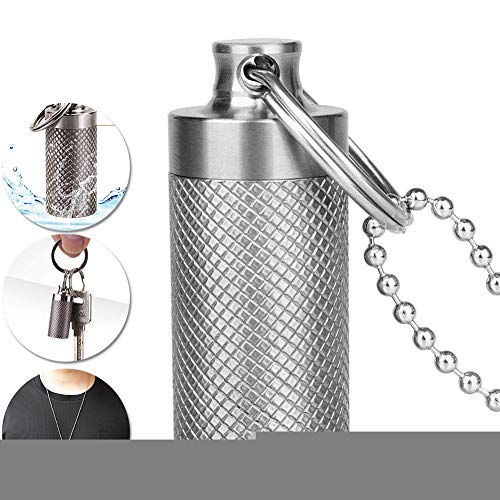 M-TOP Titanium Mini Pill Fob, Waterproof Keychain Pill Holder Container, Portable Pill Box Dispenser Non Allergenic for Outdoor Travel Purse or Pocket big 1pack