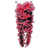 VORCOOL 4petals Künstlich hängende Blumen, Blauregen Hängende Kunstblumen für Hochzeit Haus Dekoration (Rose Rot)