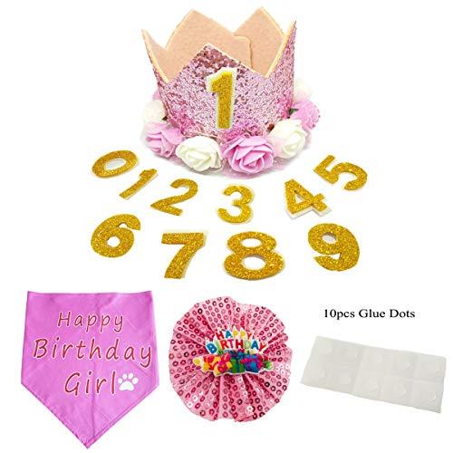 Pet Show Krone Hund Geburtstag Hut für Haustiere wiederverwendbar Geburtstag Party Katze Kätzchen Kopfband Hüte mit 1–9 Figuren Charms Pflege Zubehör, Pink Set