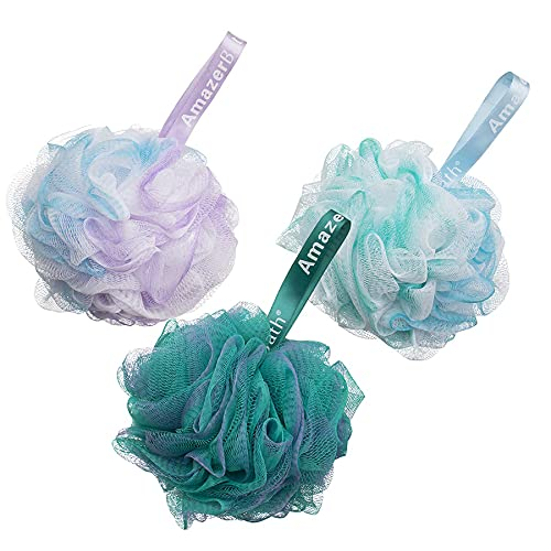AmazerBath Shower Sponge Bath Loofahs for Shower 75g for Body Wash Bathroom Men Women - Set of 3 (Flower Green-Blue-Purple)
