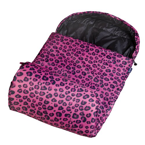 Wildkin Kids Stay Warm Sleeping Bag for Boys and Girls, Perfect Size for Slumber Parties, Camping, and Overnight Travel, Sleeping Bags Measures 67.5 x 2 x 26.5 Inches, BPA-free (Pink Leopard)
