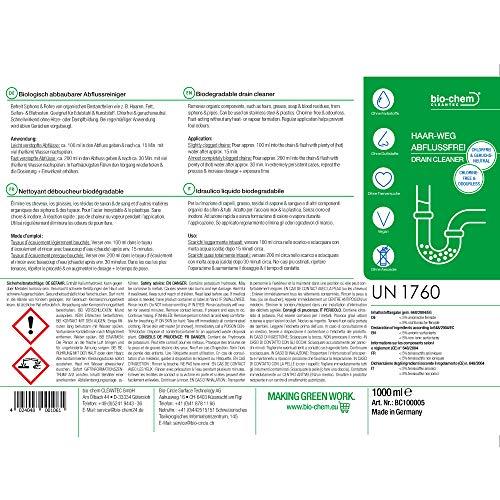 bio-chem® HAAR-WEG Abfluss-Frei | 1000 ml | Abflussreiniger | Rohrreiniger | Rohrreinigung | Rohrfrei | Abflussrohr | Geruchskiller | Entfernt und löst hartnäckigste, organische Verstopfungen - 9