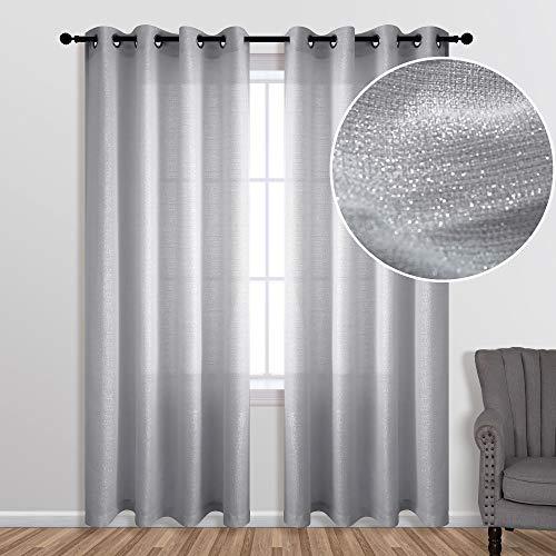 Silver Curtains 84 Inch Length for Bedroom 1 Panel Grommet Window Drape Luxury Sparkle Darkening Semi Sheer Gray Elegant Glitter Curtains for Girls Room Decor Living Decorations 84 Long Light Grey