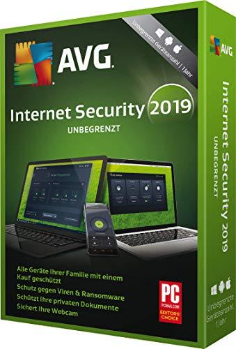 AVG Internet Security 2019 unbegrenzte Geräteanzahl / 1 Jahr|2019|Unbegrentze Geräteanzahl|12 Monate|PC, Laptop, Tablet, Smartphone|Download|Download