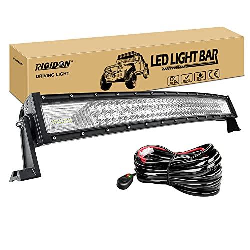 RIGIDON Curvada Barra de luz led, 12V 24V 32 pulgadas 405W, Tri fila Barras luminosas led y kit de cableado para off road camión coche ATV SUV 4x4 barco, Foco Inundación Combo, lámpara de cond