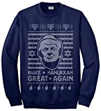 Threadrock Men's Trump Make Hanukkah Great Again Ugly Sweater Sweatshirt XL Navy