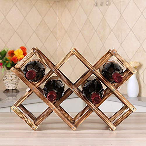 Estantería de madera para almacenamiento de vino, estantería de 10 botellas de madera para encimera, estante de exhibición plegable de mesa de pie libre para armarios de bar de cocina para el hogar