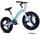 Bicicleta Infantil 20 Pulgadas A Mayores De 6 AñOs, para NiñOs Y NiñAs, Ligera, Moldeo Integral De AleacióN De Magnesio Frenos De Disco Delanteros Y Traseros,Azul