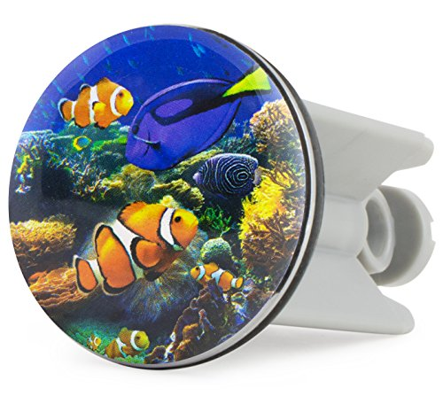 Grinscard Waschbecken Stöpsel Clownfish Design - ca. 7 x 4 cm - Maritimer Spülbecken Abflussstopfen als Geschenk