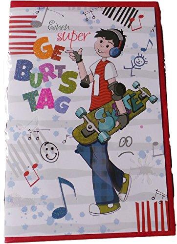 Glückwunschkarte Zum Geburtstag - Einen super Geburtstag - Skateboard - Mehrfarbig - mit Briefumschlag