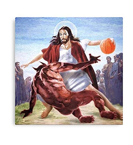 Jesus vs Satan in Basketball Canvas Gallery Wraps Ready to Hang Wall Decoration