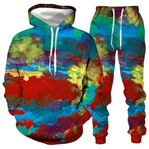 DREAMING-Sudadera con capucha de manga larga Sudadera con salpicaduras de impresión digital 3d Suéter informal con capucha para hombres y mujeres + Pantalones Traje deportivo de invierno 4XL