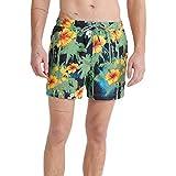 Superdry Super 5s Beach Volley SWM Shrt Pantalones Cortos, Verde (Neopalm Hibiscus Black 3dn), S para Hombre