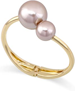 HANTON Double Pearls Cuff Bracelet for Girls Gold Plated Statement Bangle Gift Jewelry Coffee Color