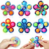 Monake 6 Pack Pop Fidget Spinners Simple Popping Fidget Toy Tie Dye Push Bubble Fidget Spinner Fidget Pack Hand Spinner for ADHD Anxiety Stress Relief Sensory Toy for Kids Adults