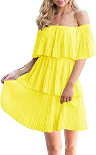 Women's Casual Off The Shoulder Sleeveless Tiered Ruffle Pleated Short Party Beach Dress