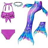 Fishkid Meerjungfrau Flosse Zum Schwimmen Meerjungfrau Schwanz mit Flosse mit Bikini für Kinder Mädchen-Aurora Magic-120(5-6Y)