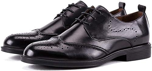 Willsego Brogues Hechos a Mano de Cuero Genuino para Hombre Moda Negocio Vestido Formal zapatos Derby Party Lace Up Calzado (Color   negro, tamaño   44)