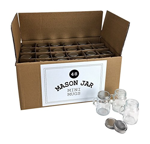 Mini Mason Jar 4 Ounce Mugs - Set of 48 Glasses With Handles And Leak-Proof Lids - Great For Shots, Drinks, Favors, Candles And Crafts