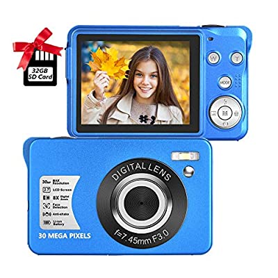 Digital Camera 2.7 Inch LCD Rechargeable HD Digital Camera Compact Camera Pocket Digital Cameras 30 Mega Pixels with 8X Zoom for Adult Seniors Students Kids with 32GB SD Card(1 Battery Included) by SEREE