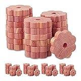 Relaxdays 100 x Mottenschutz Zedernholz, Mottenringe für Kleiderschrank, Langzeitschutz,...