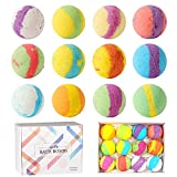 Natural Bath Bombs,Handmade Bubble Bath Bomb Gift Set, Great for Spa or Bubble Bath, Best Birthday Gifts for Women, Girlfriend, Mother & Kids.(A Set of 12,2.5oz each)