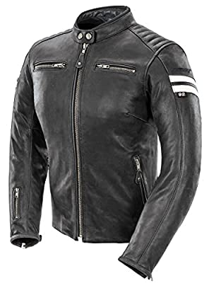 Joe Rocket Classic '92 Women's Leather Motorcycle Jacket (Black/White, Medium) by Joe Rocket