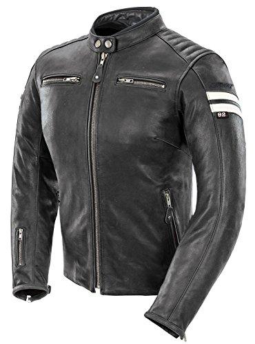 Joe Rocket 1436-1004 Classic '92 Women's Leather Motorcycle Jacket (Black/White, Large)