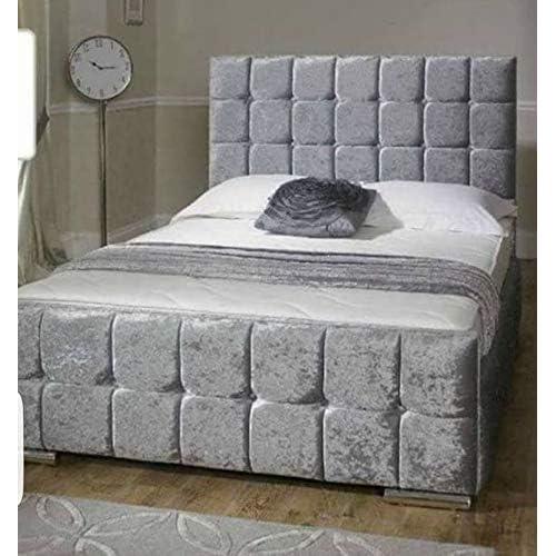2735a4873172 QBDLimited NEW Cubed Crushed Velvet Upholstered Bed - 3ft, 4ft, 4ft6, 5ft -