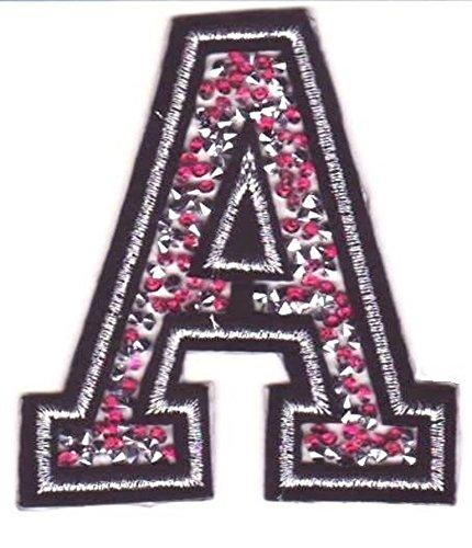 b2see Toppa Toppe Patch applicazioni strass toppe lettere alfabeto termoadesive 8-10 cm A rosa