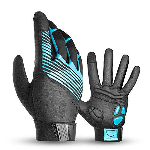 Gants Velo YDHWWSH Gants De Vélo Hiver Thermal Waterproof Bike Gloves Long Finger Touch Screen Wrist Gants Cycling Gants Hommes 3XL B Automne Bleu