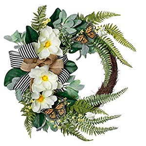 Valery Madelyn 24 inch White Magnolia Flower Wreath with Fern Leaves,Spring Summer Floral Half Coverage Wreath Artificial Flower Arrangements for Porch,Front Door,Window,Wall,Wedding, Home Decor