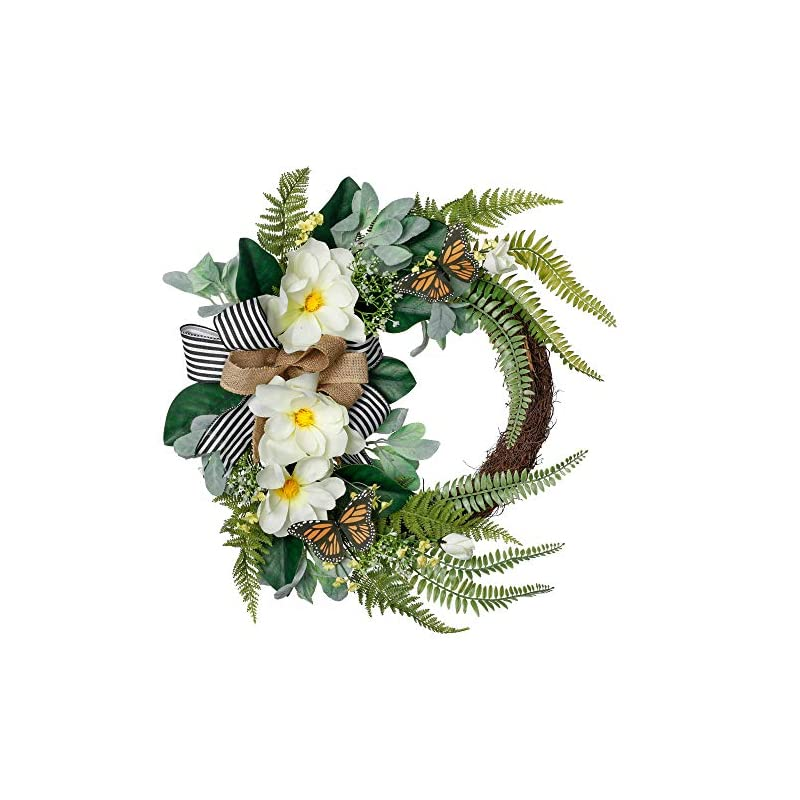 silk flower arrangements valery madelyn 24 inch white magnolia flower wreath with fern leaves,spring summer floral half coverage wreath artificial flower arrangements for porch,front door,window,wall,wedding, home decor