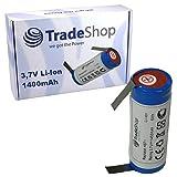 Trade-Shop Premium Li-Ion Akku 3,6V/3,7V 1400mAh 18500-Zelle 52mm x 18,5mm mit U-Lötfahnen 5mm
