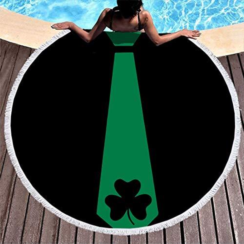 RNGIAN - Toallas de playa circulares circulares para el día de San Patricio, tapiz de playa para nadar suave bebé mascota con borlas, poliéster, Blanco, 59 inch