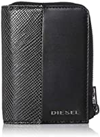 (ディーゼル) DIESEL メンズ ALLブラック テクスチャードMIX ラウンドファスナー折り財布 X06313P0598