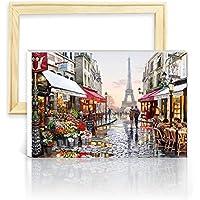 """decalmile Pintura por Número de Kits DIY Pintura al óleo para Adultos Niños París Torre Eiffel 16""""X 20"""" (40 x 50 cm, con Marco de Madera)"""