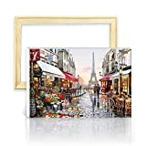 decalmile Pintura por Número de Kits DIY Pintura al óleo para Adultos Niños París Torre Eiffel 16'X 20' (40 x 50 cm, con Marco de Madera)